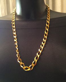 Monet - big gold tone chain necklace - signed