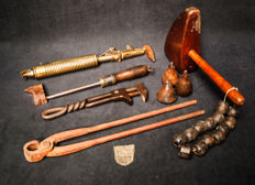 A collection of antique plumbing equipment from an old plumber's workshop. A rare German solder torch and the rest is probably Dutch. 18th, 19th, and 20th century.