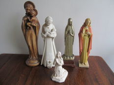 Lot of old statues of saints - Belgium - first half of 20th century