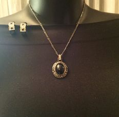 Vintage Monet dark silver tone necklace with pendant and clips earrings