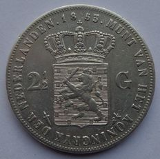 The Netherlands – Rijksdaalder 1853 over 1852 Willem III – silver