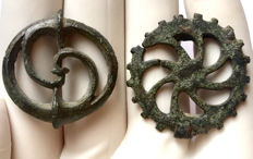 Two of Ancient Roman Triskele / Legionary Brooches - Fibulae  29mm. / 32mm.