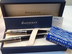 Waterman Carene deluxe black chiselled Vulpen&balpen Set 18 K