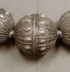 Antique silver beads traditionally strung - Yemen