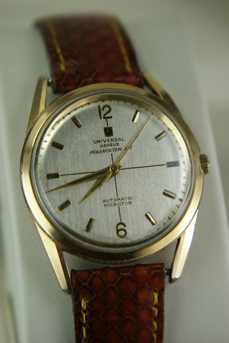 Universal Geneve Polerouter,  40 micron gold men's watch Swiss 1955-1959