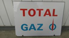 """TOTAL gas"" enamelled advertising sign double sided"