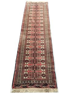 Charming hand-made Persian rug: Turkoman 260 x 73 cm