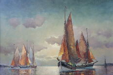Franz Ambrasath (1889-1974) - sail boats at sunset