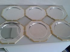 Six octagonal, large silver plated under plates, 2nd half 20th century