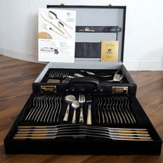 "SBS Solingen model ""Berlin""- 70 piece partly gilded luxury cutlery set for 12 persons - 23/24 carat - hard gilded in original case"