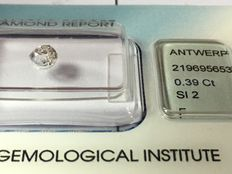 0.39 ct diamond Old European cut F SI2  with IGI certificate