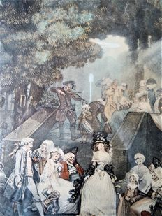 A couple of prints after Philibert Louis de Bucourt - Le menuet de mariée - La noce au château - 1786