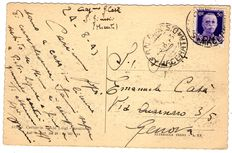 "Italy, 1943 - 50 cent - Overprint: ""PM"" - Civil use, before the armistice, on a postcard from San Ginesio to Genoa (25/08/1943)."