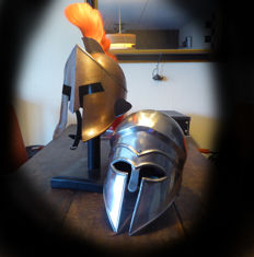 2 different types of Greek helmets-Sparta/Troy