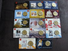 Vatican - 50 cent 2010/2016 (14 pieces) in coin cards