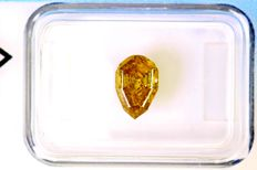 1.11 ct pear cut diamond, Fancy Intense Brown-Yellow NO RESERVE PRICE
