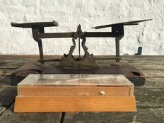 Post scale with wood and copper plateaus including weights block - ca.  1900