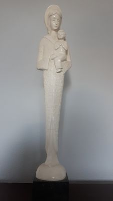 Stylized Mary with child. Plaster, enforced with metal on a stone pedestal. Italy, S. Bernardini '42