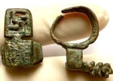 Two Ancient Roman Bronze Ring Keys / 24mm(2)