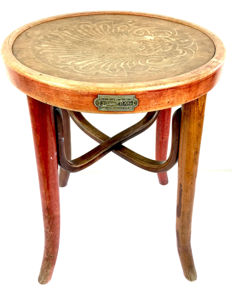 Wooden antique hairdresser's stool in Thonet style - France - early 20th century