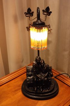 Lamp with beaded shade