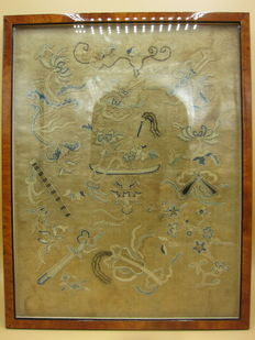 Framed antique embroidery - China - 19th century