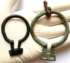 Two Ancient Roman Bronze Omega Fibulae - 57mm / 75mm (2)