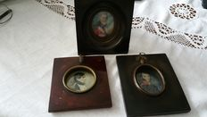 Three different miniatures, depiction of 3 soldiers - English - 19th century.