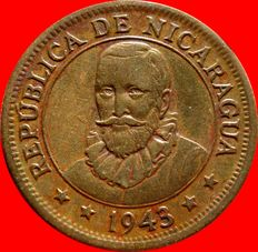 Republic of Nicaragua – 25 cents from Cordoba Brass – 1943