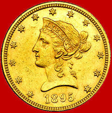 United States – 'Coronet Head Eagle' ten dollars coin, 1895 – Gold