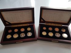 Belgium – Lot of 2 cases (2 x 8 coins) in good condition, 2000 & 2001.