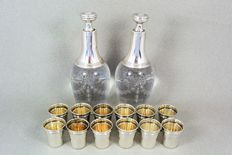 Silver and crystal liqueur service, France, 19th century