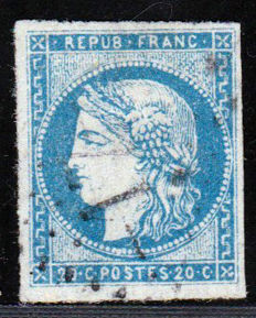 France 1870 - Bordeaux Cérès 20c blue Report 2 signed Calves - Yvert No. 44B
