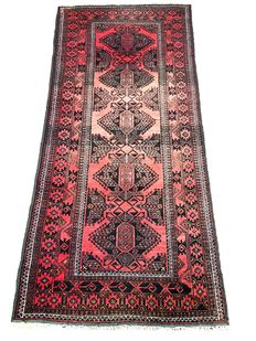 Handmade village rug: Beloutch, 213 x 95 cm, circa 1940 !!