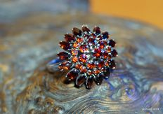 Large silver ring with garnet
