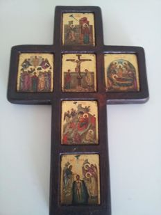 Particular icon in the shape of a cross-Greece-20th century