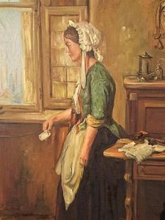 Jan Hovener (1936-)-woman with letter at the window
