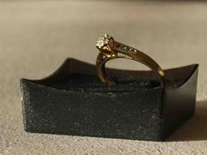 14 kt gold ring with 15 diamonds, 0.15 ct (rosette setting)