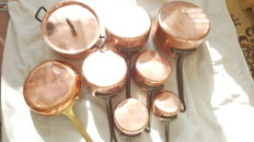 Copper saucepans set of eight