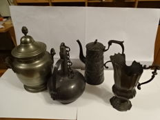 Decanter coffee pot cookie jar and pewter jug
