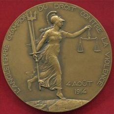 France - Medal 'Treaty of London Guaranteeing The Neutrality of Belgium' 1914 by H. Dropsy - Bronze