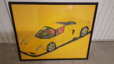 Two Ferrari paintings - Hand painted, oil and pencil - 2009