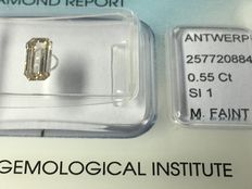A diamond in emerald cut, 0.55 ct M SI1 with IGI certificate