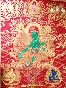 Thangka representing green Tara, fine gold – Nepal – late 20th century.