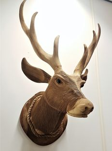 Solid teak deer head