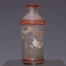 Beautiful glass snuff bottle painted on the inside – cranes – China – around 1900