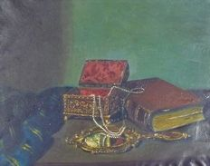Ramón Soler Liró (1897 - 1968) - Jewellery, jeweller and book (Still Life)