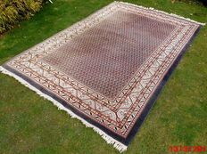 "Original oriental carpet "" Mir"", handknotted, fringe, size 258 x 174 cm, carmine red, beige colouring bordered with anthracite blue"