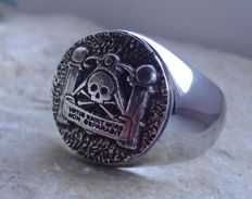 AJS Collection - Unique Handmade Sterling Silver 925 Masonic Pillars Ring