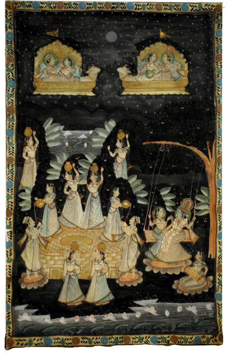 Pichwai painting on cotton, scene from the life of Krishna (173 x 93 cm) – India – 19th century